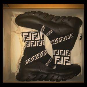 Fendi Shoes   Mens Ff Print Sock Boot